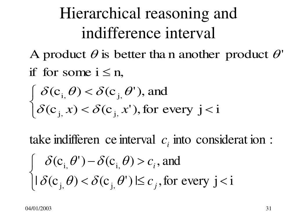 Hierarchical reasoning and indifference interval