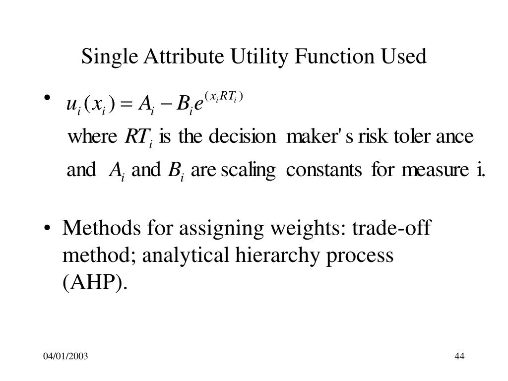 Single Attribute Utility Function Used