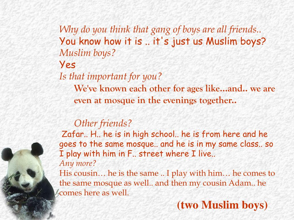 Why do you think that gang of boys are all friends..