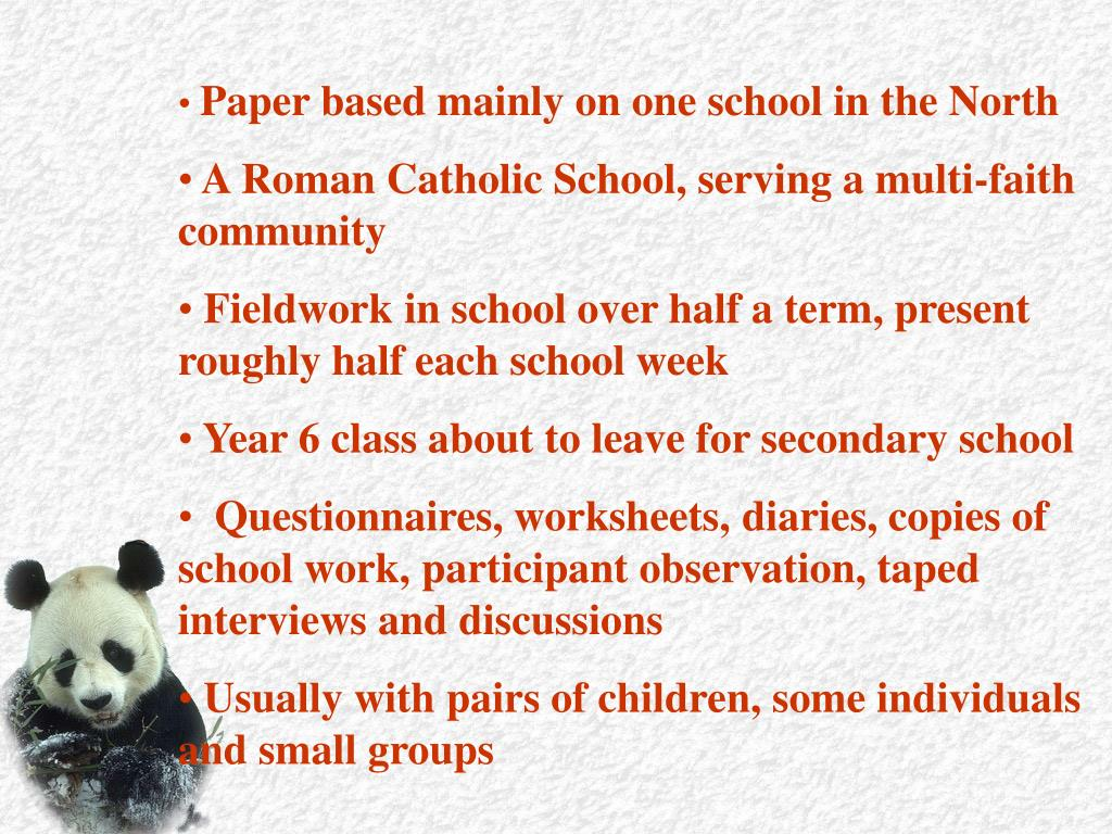 Paper based mainly on one school in the North