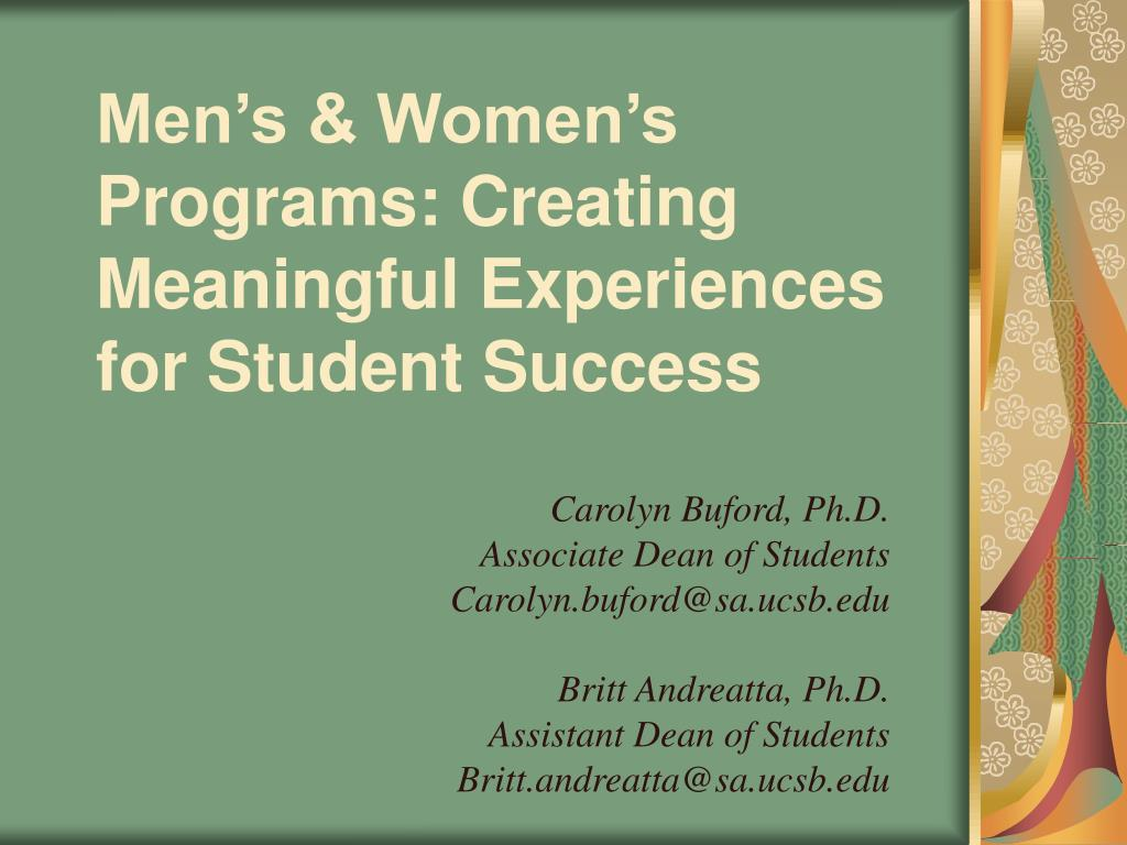 men s women s programs creating meaningful experiences for student success