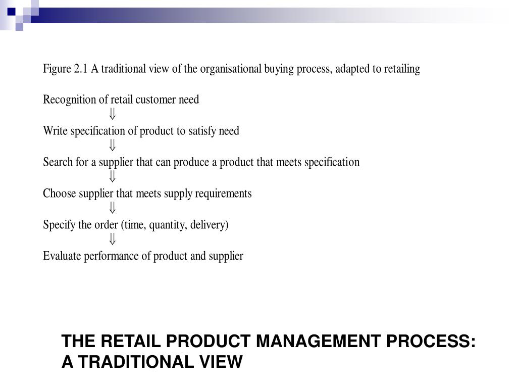 THE RETAIL PRODUCT MANAGEMENT PROCESS:      A TRADITIONAL VIEW