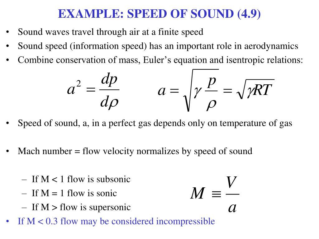 EXAMPLE: SPEED OF SOUND (4.9)