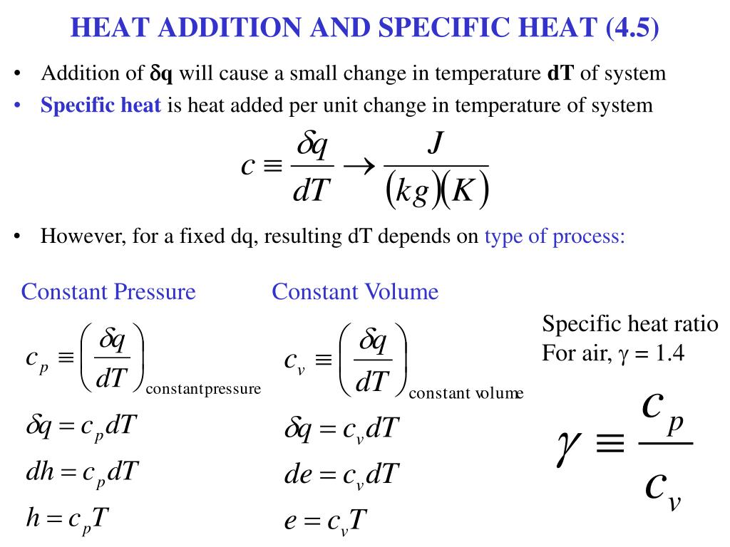 HEAT ADDITION AND SPECIFIC HEAT (4.5)