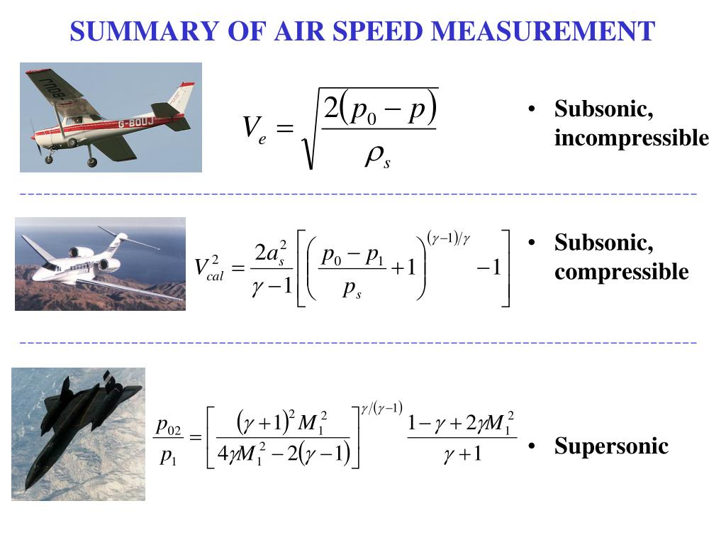 SUMMARY OF AIR SPEED MEASUREMENT
