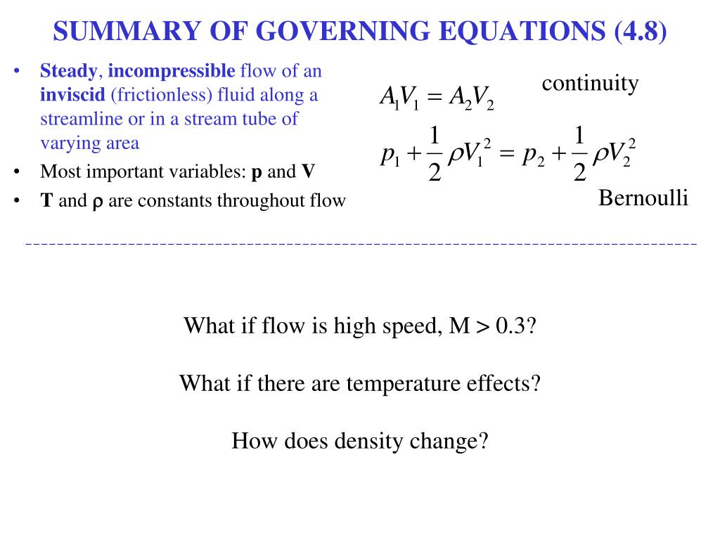 SUMMARY OF GOVERNING EQUATIONS (4.8)