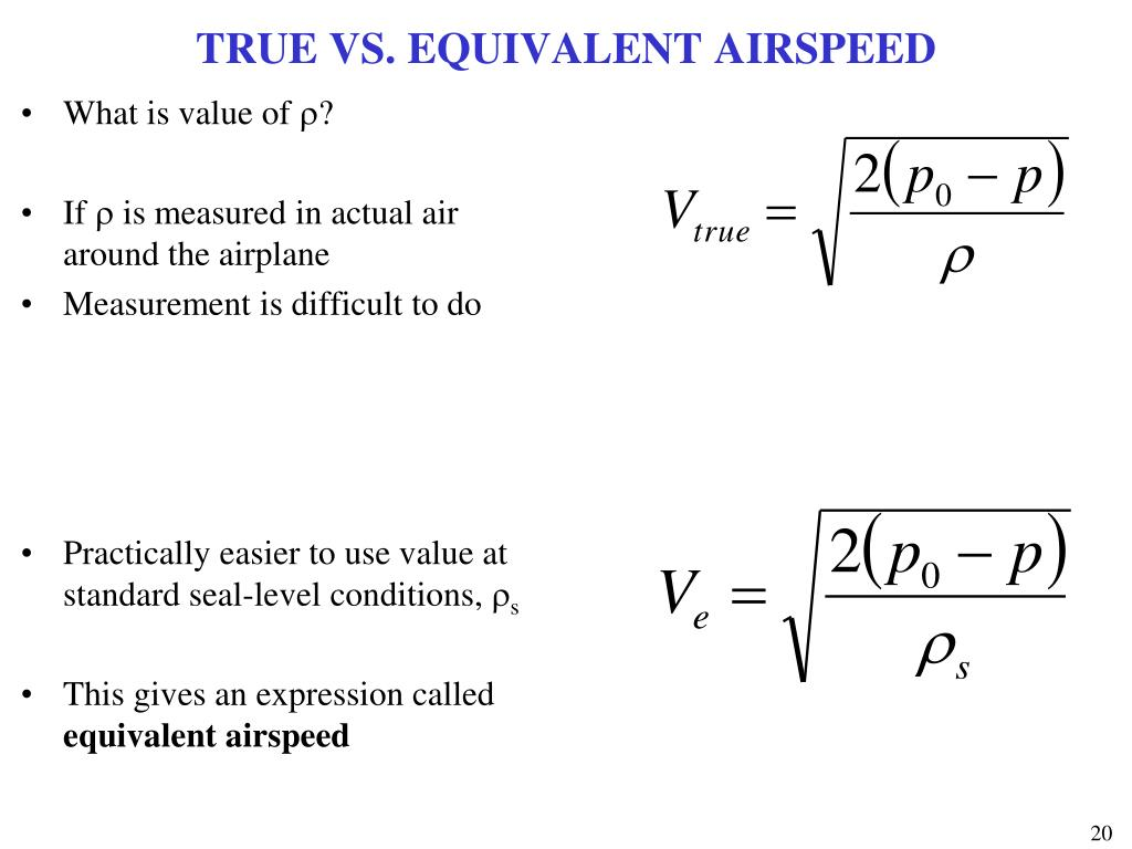 TRUE VS. EQUIVALENT AIRSPEED