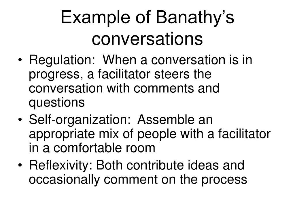 Example of Banathy's conversations