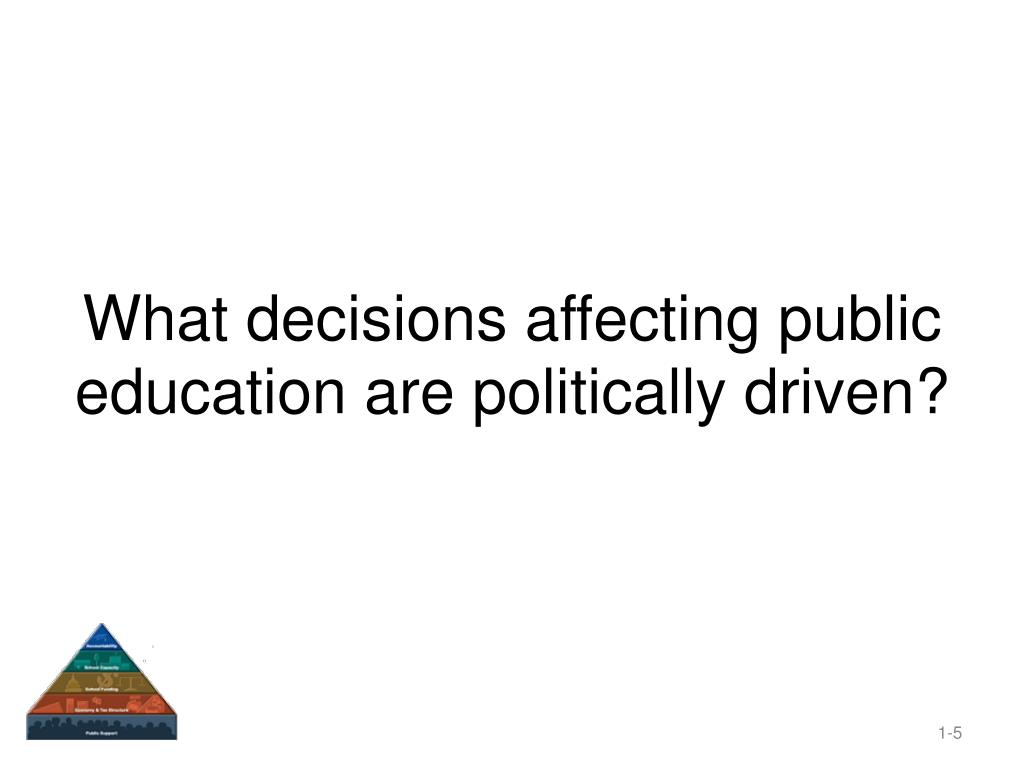 What decisions affecting public education are politically driven?