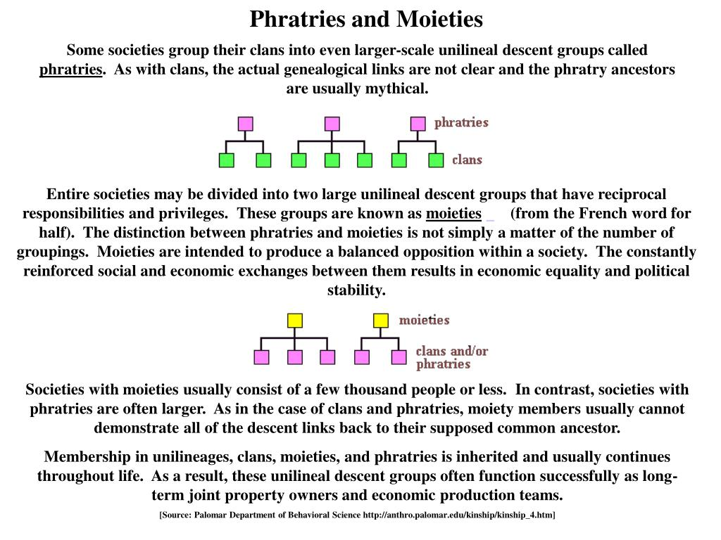 Phratries and Moieties