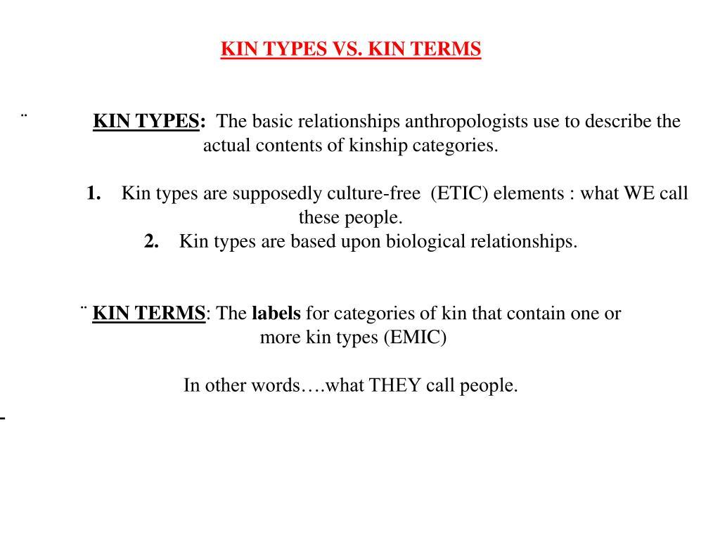 KIN TYPES VS. KIN TERMS
