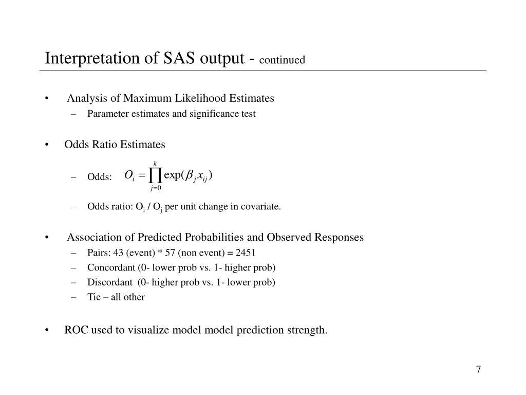 Interpretation of SAS output -