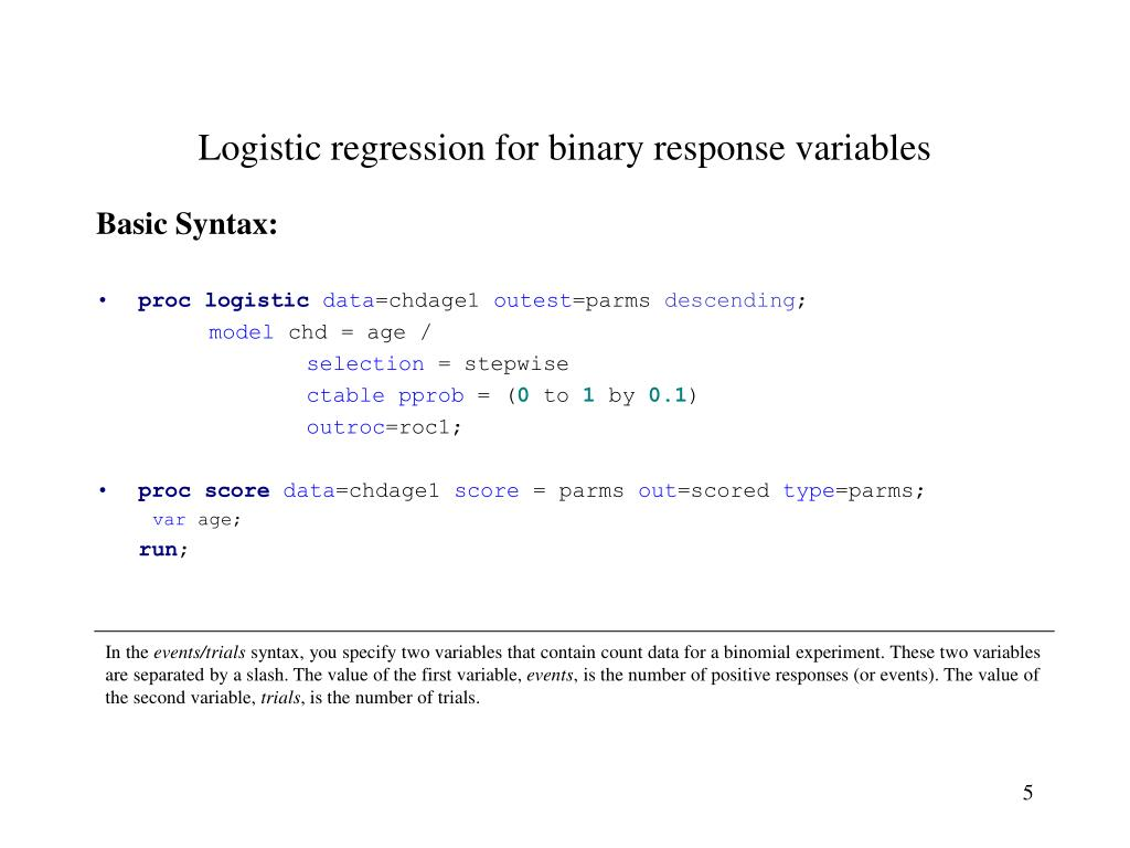 Logistic regression for binary response variables
