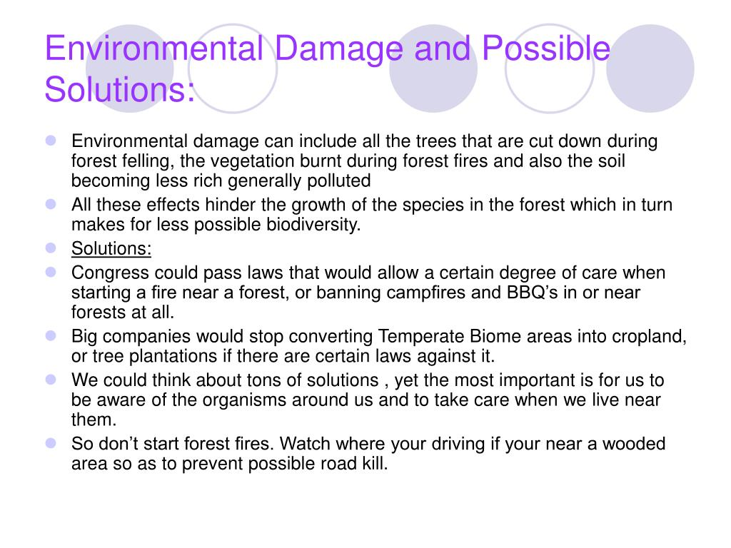 Environmental Damage and Possible Solutions: