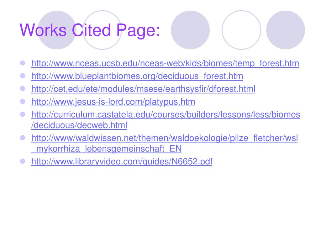 Works Cited Page: