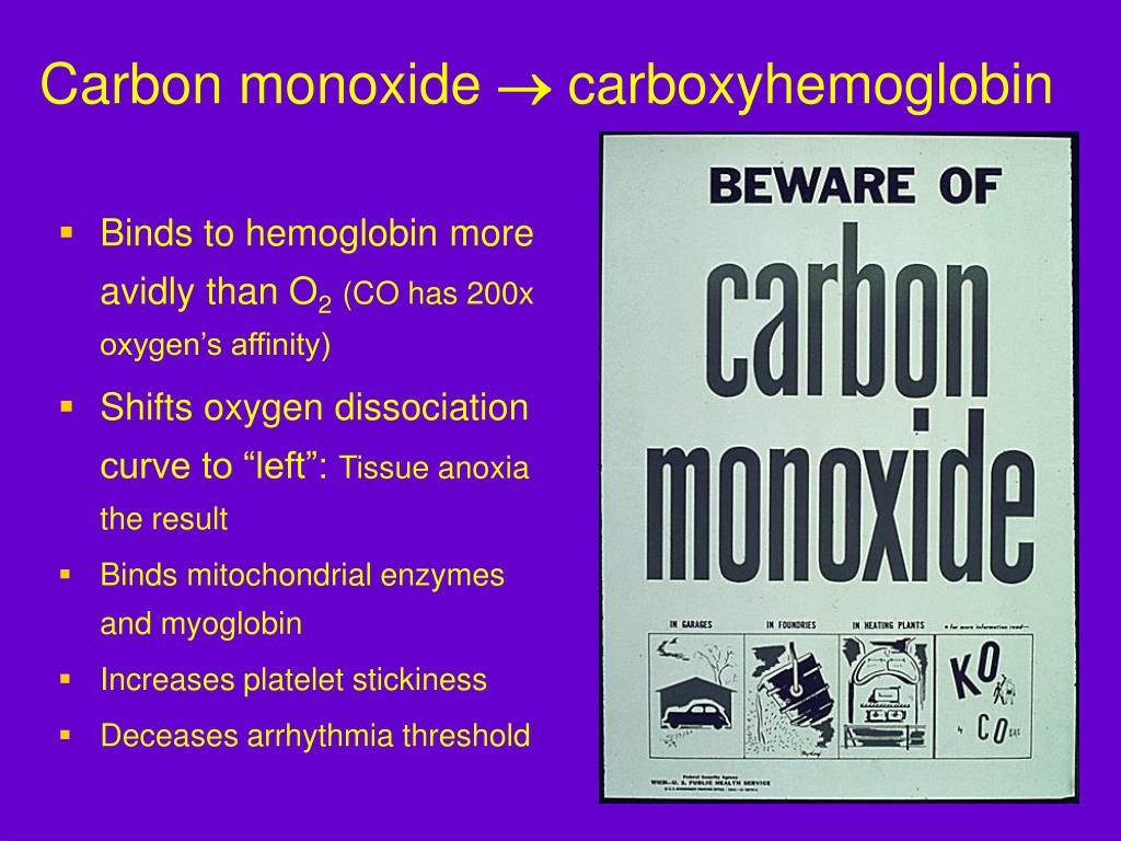 Binds to hemoglobin more avidly than O