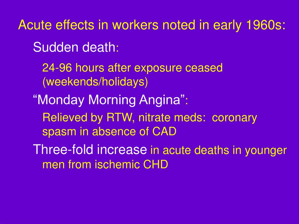 Acute effects in workers noted in early 1960s: