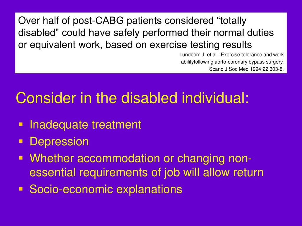 """Over half of post-CABG patients considered """"totally disabled"""" could have safely performed their normal duties or equivalent work, based on exercise testing results"""