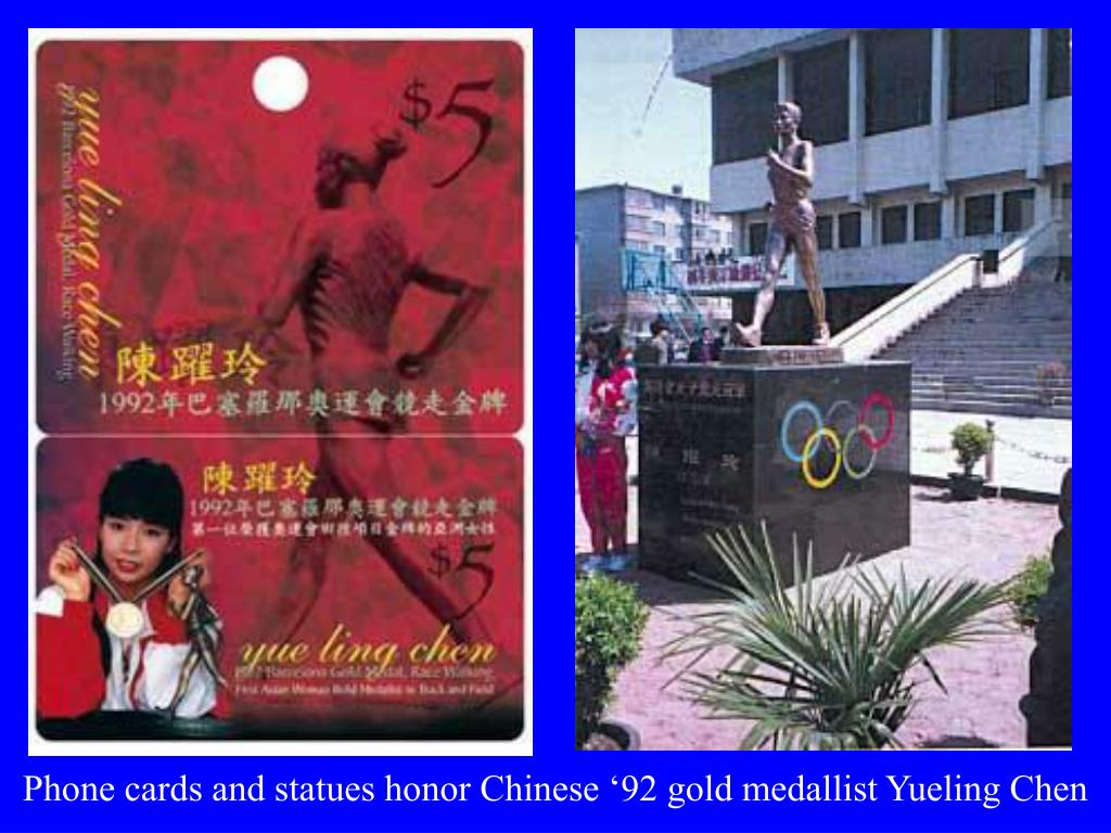 Phone cards and statues honor Chinese '92 gold medallist Yueling Chen