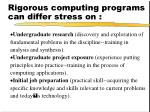 rigorous computing programs can differ stress on