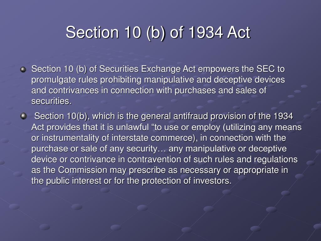 Section 10 (b) of 1934 Act