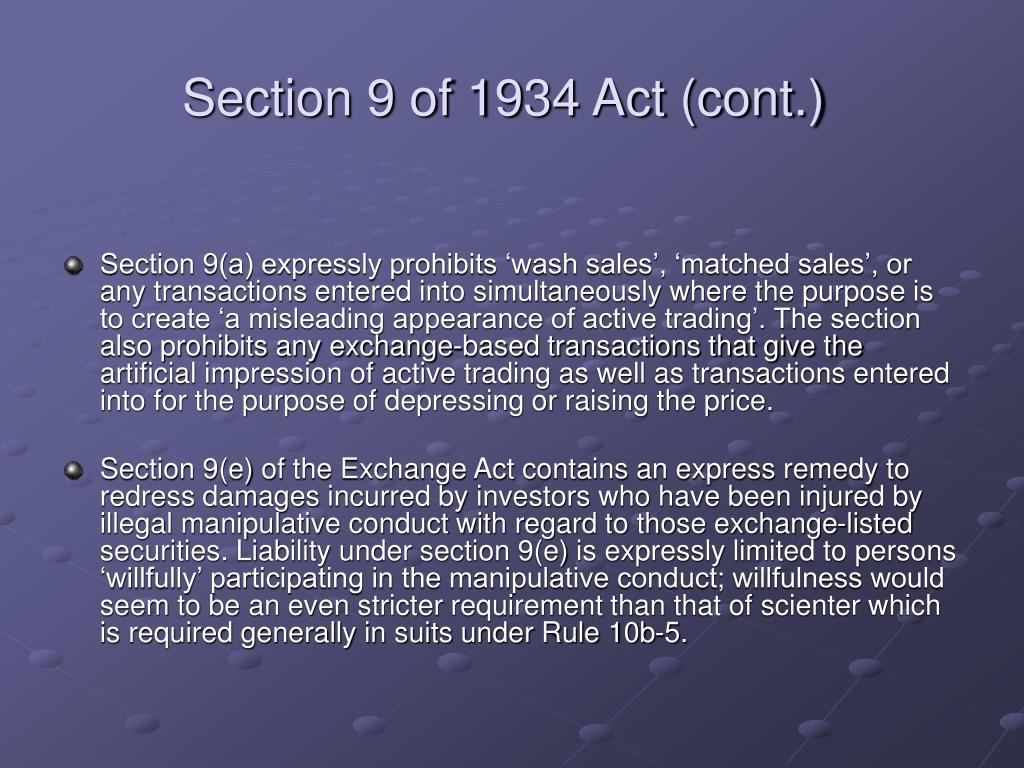 Section 9 of 1934 Act (cont.)