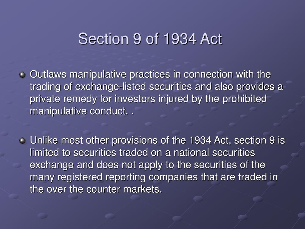 Section 9 of 1934 Act