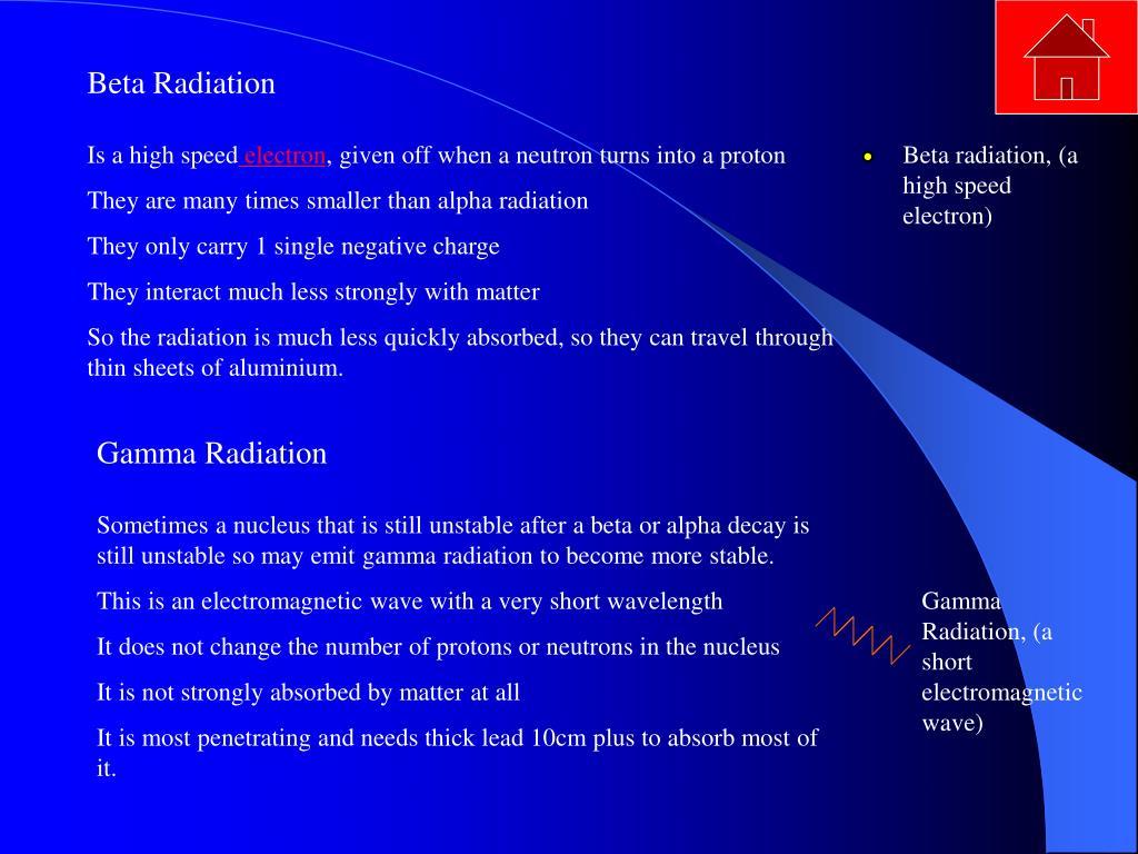 Beta radiation, (a high speed electron)