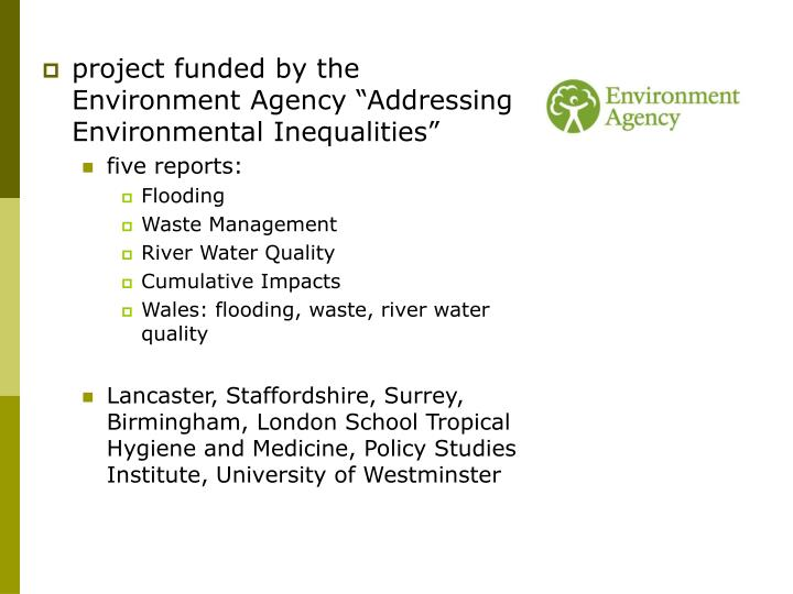 """Project funded by the Environment Agency """"Addressing Environmental Inequalities"""""""