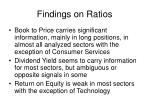 findings on ratios