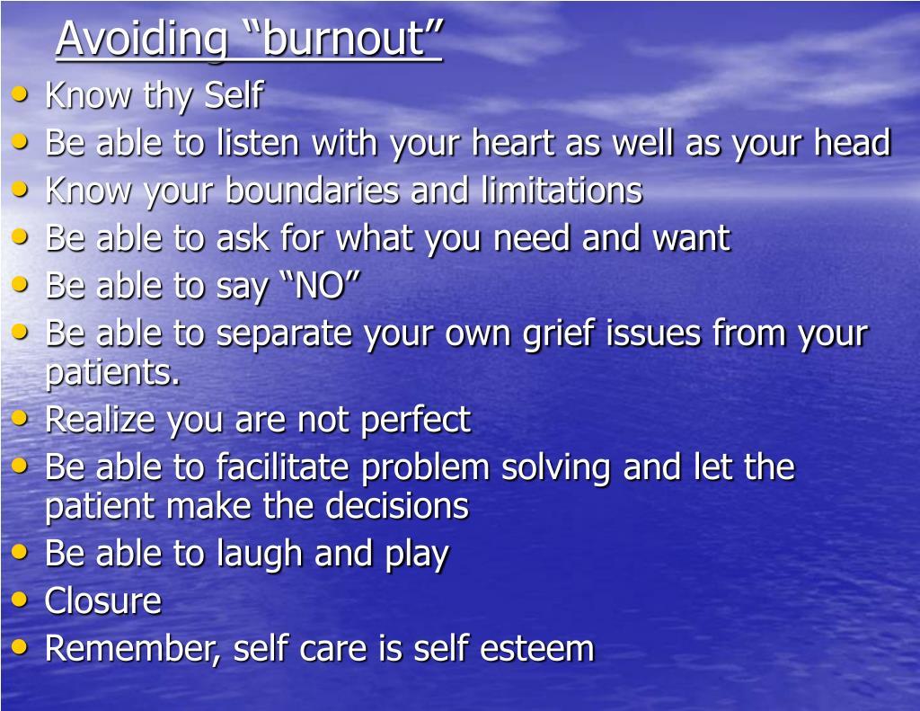 """Avoiding """"burnout"""""""