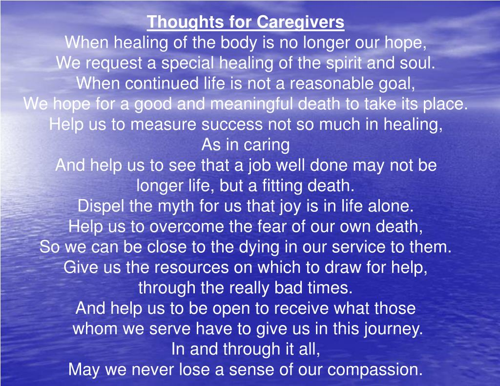 Thoughts for Caregivers