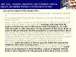 art 123a making drawing or uttering check draft or order without sufficient funds