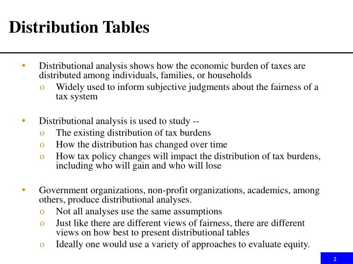 Distribution tables