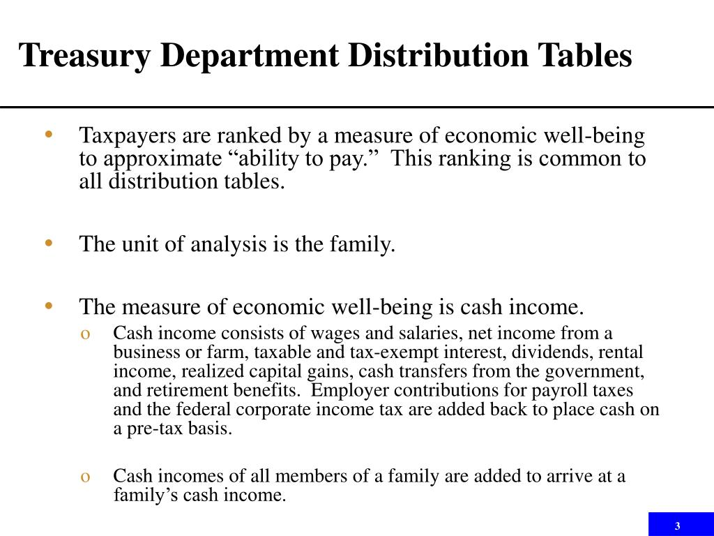 Treasury Department Distribution Tables