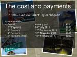 the cost and payments