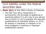 civil liability under the federal securities laws26