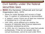 civil liability under the federal securities laws28