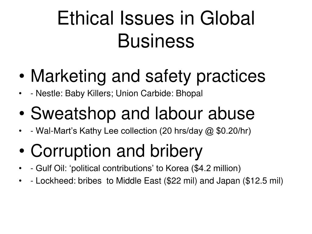 Ethical Issues in Global Business