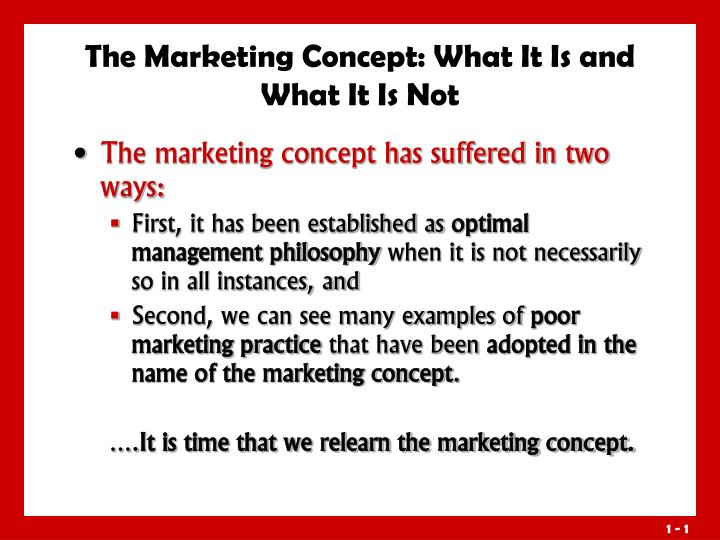 The marketing concept what it is and what it is not