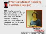 practica student teaching handbook revision