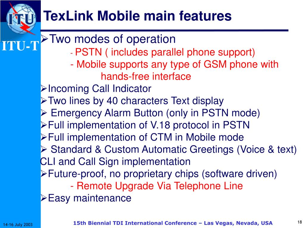 TexLink Mobile main features