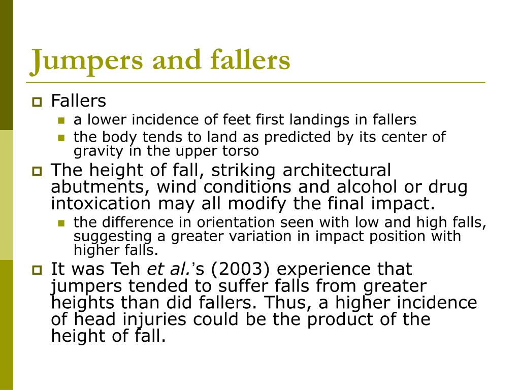 Jumpers and fallers