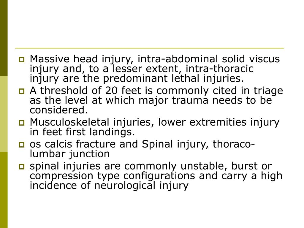 Massive head injury, intra-abdominal solid viscus injury and, to a lesser extent, intra-thoracic injury are the predominant lethal injuries.