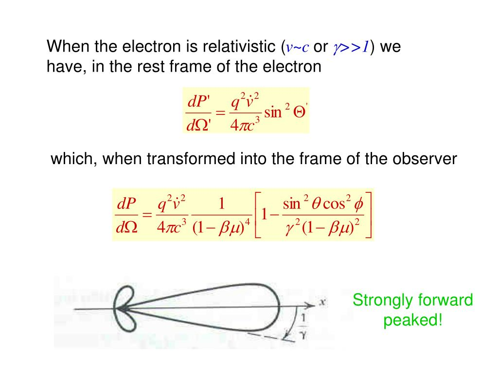 When the electron is relativistic (