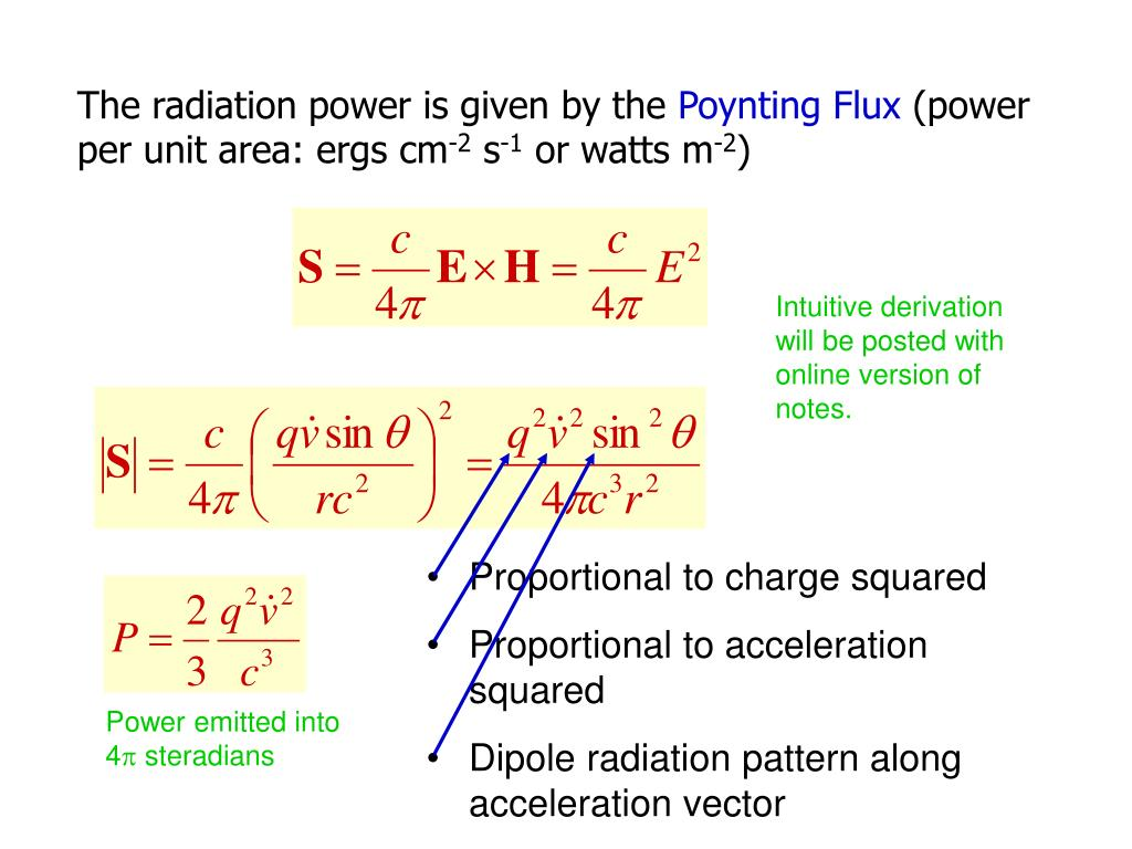 The radiation power is given by the