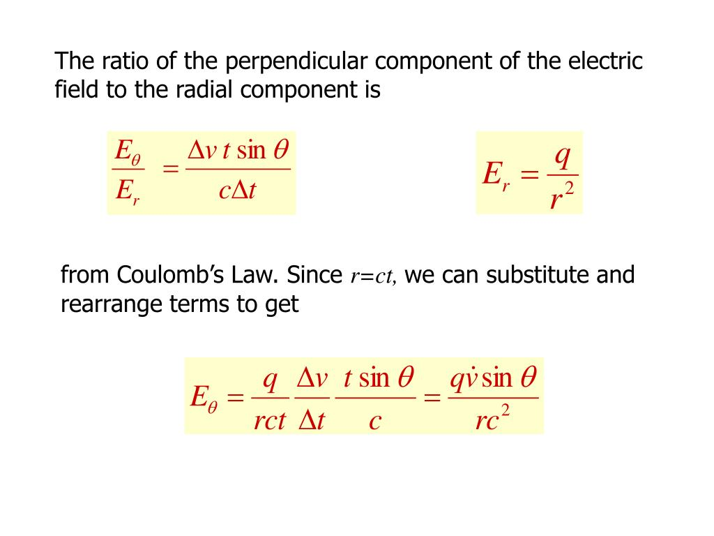 The ratio of the perpendicular component of the electric field to the radial component is