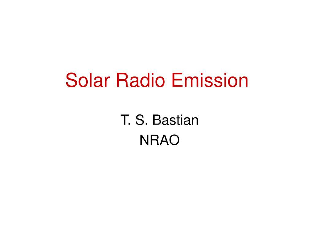 Solar Radio Emission