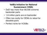 vetbiz initiative for national sustainment vins