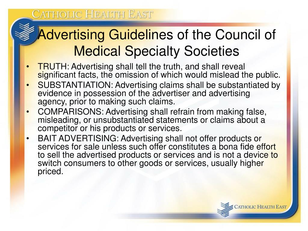 Advertising Guidelines of the Council of Medical Specialty Societies